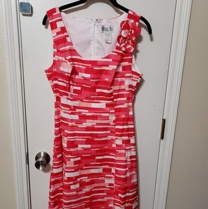 Red and pink abstract sundress